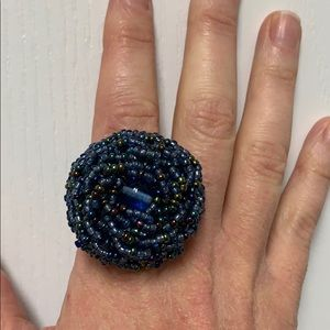 Stretchy beaded flower ring